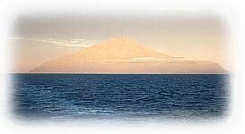 Tristan da Cunha at sunset.